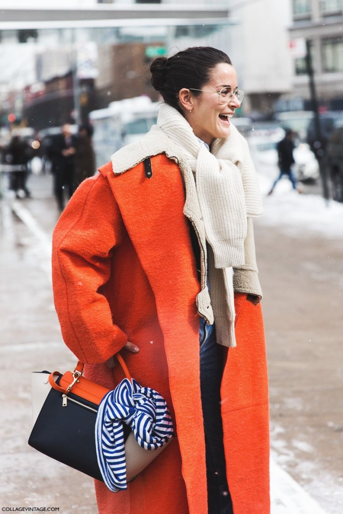 New_York_Fashion_Week-Fall_Winter_2015-Street_Style-NYFW-Scarves_Sweater-Orange_Coat-Dr_Martens-Levis-Jeans-6-790x1185